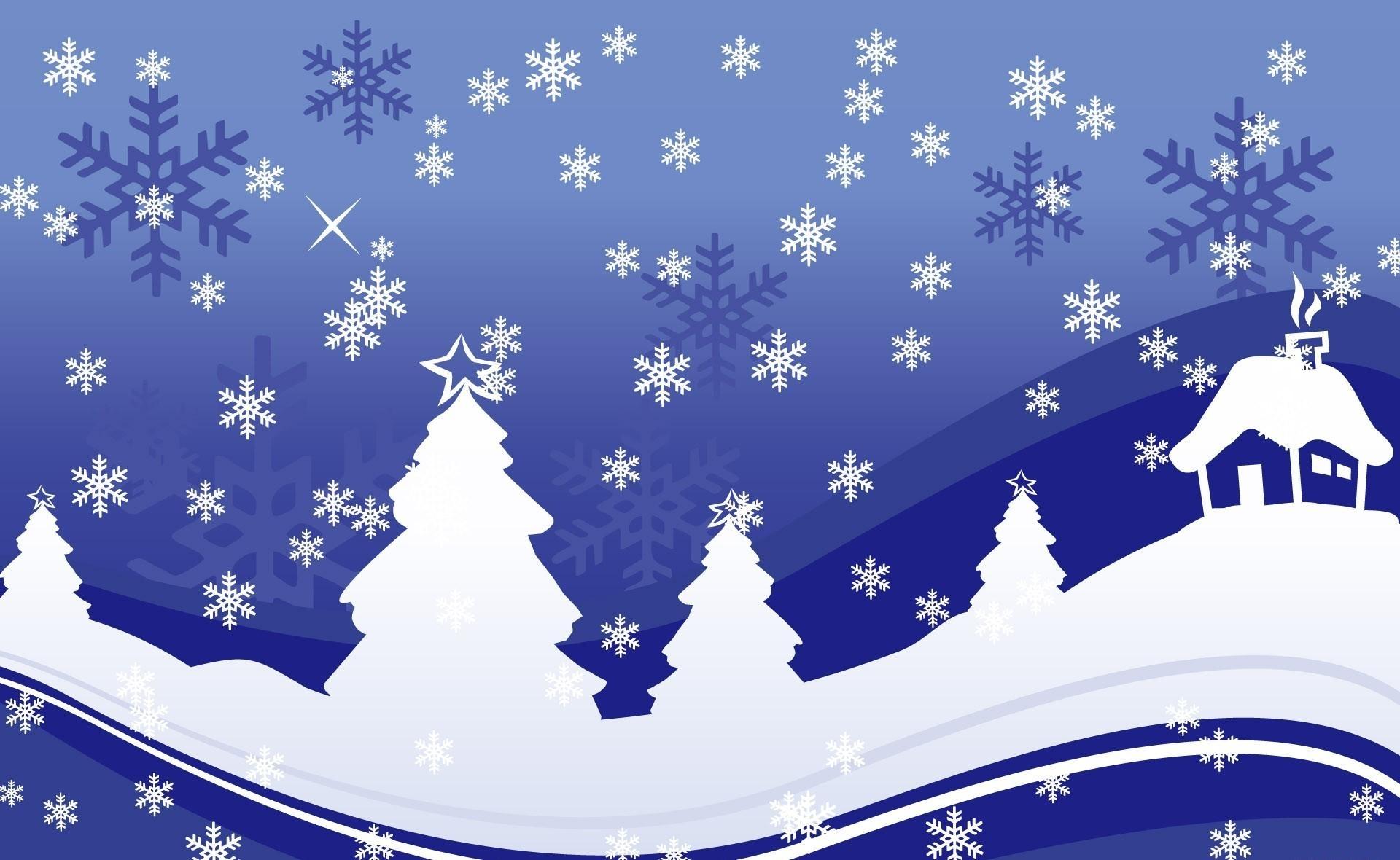 елки, дом, снежинки