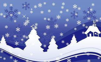 Фото бесплатно елки, дом, снежинки