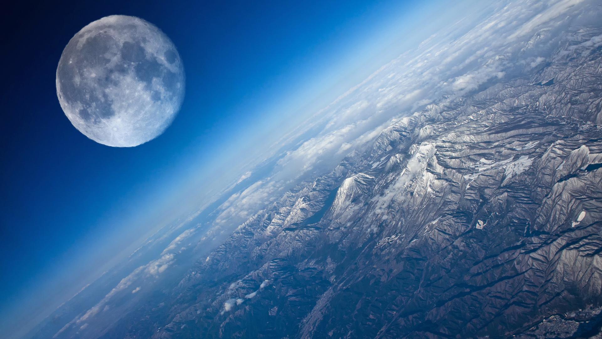 Обои земля, планета, вид с космоса, горы