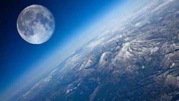 Бесплатные фото земля,планета,вид с космоса,горы,облака,луна,телескоп