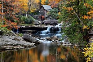Photo free landscape, rocks, watermill