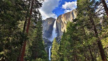 Фото бесплатно горы, водопад, лес