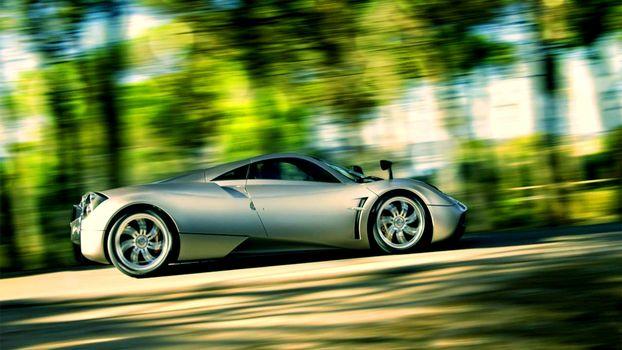 Фото бесплатно машины, спортивная, цвет, серебро, скорость, загородная, дорога, деревья