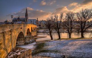 Бесплатные фото мост,бетон,река,пролив,берег,зима,деревья