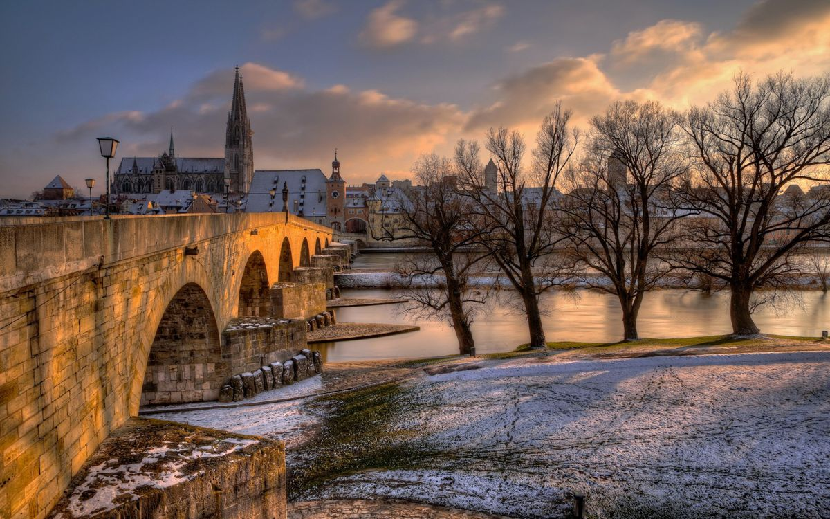 Фото бесплатно мост, бетон, река, пролив, берег, зима, деревья, города, разное