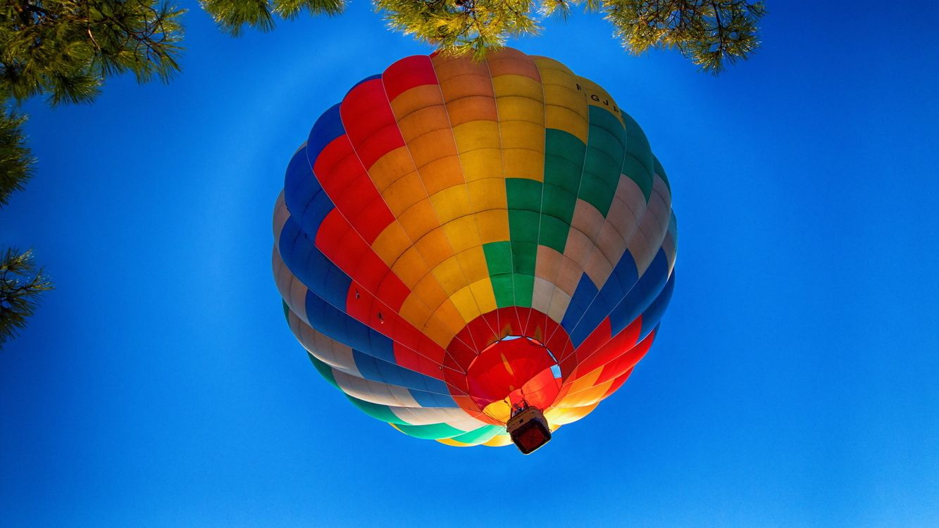 Фото бесплатно небо, голубое, воздушный, шар, корзина, деревья, разное, разное