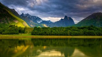 Бесплатные фото озеро,отражение,деревья,горы,снег,небо,тучи