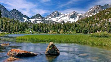 Бесплатные фото озеро,вода,трава,лес,деревья,горы,снег