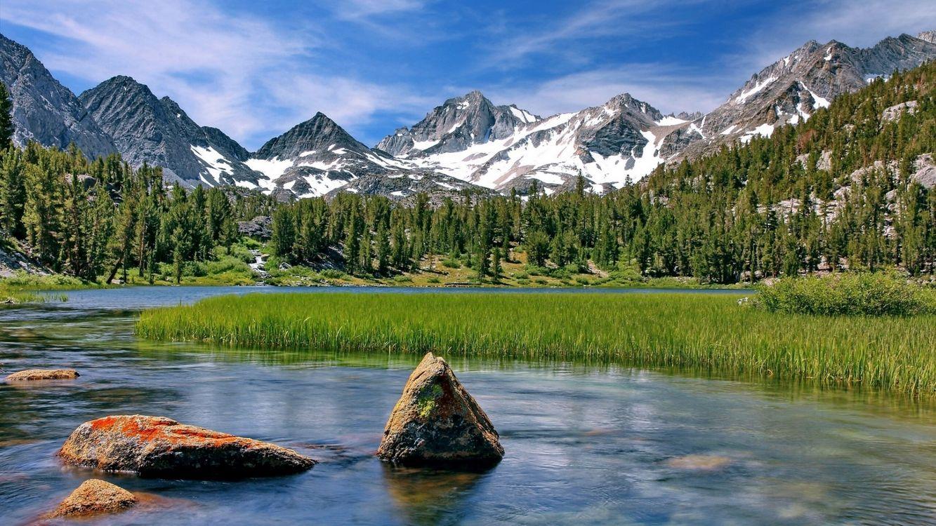 Фото бесплатно озеро, вода, трава, лес, деревья, горы, снег, природа, природа