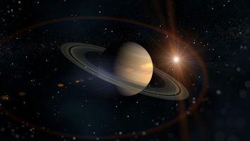 Обои планета, спутник, звезды, туманность, лучи, юпитер, сатурн, космос