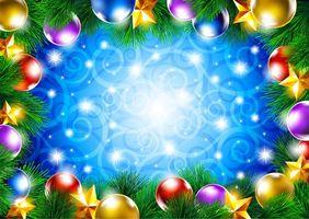Фото бесплатно шарики, елка, ветки
