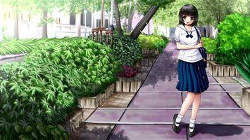 Фото бесплатно тротуар, клумбы, растительность, девушка, аниме
