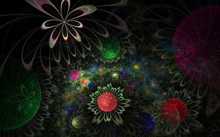 Обои цветки, лепестки, листья, узор, круги, шары, полоски, цветы