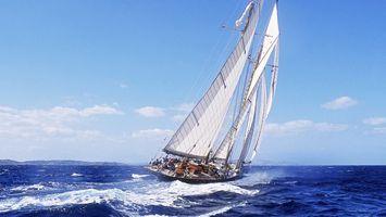 Фото бесплатно яхта, паруса, волны