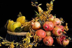 Бесплатные фото фрукты, гранат, яблоки, натюрморт