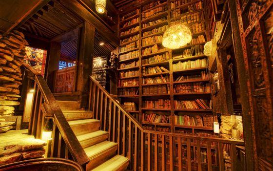 Бесплатные фото лестница,ступени,перила,полки,стелажи,книги