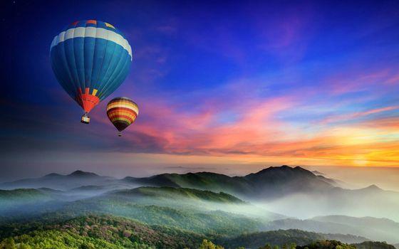 Photo free balloons, flight, mountains