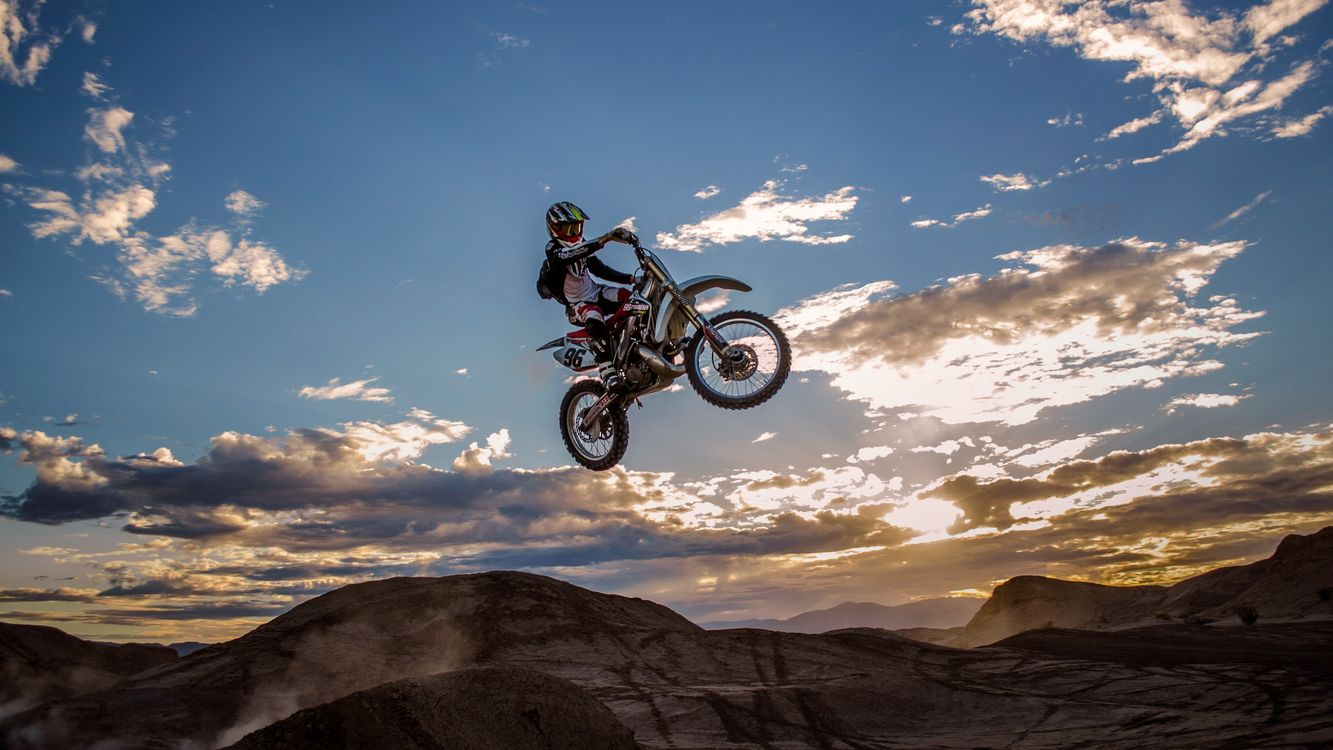 Фото бесплатно мотофристайл, трюк, прыжок - на рабочий стол