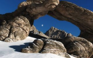 Бесплатные фото скала, арка, небо, Луна