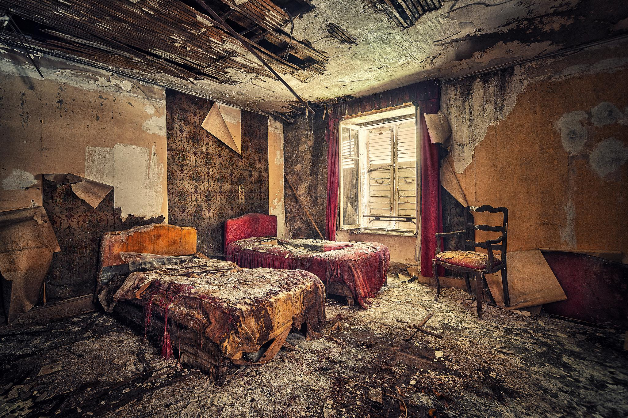 интерьер, комната, руины