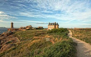 Бесплатные фото тропинка,трава,дом,камни,маяк,берег,море