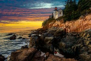 Bass Harbor Head Lighthouse, sunset, acadia national park, закат, море