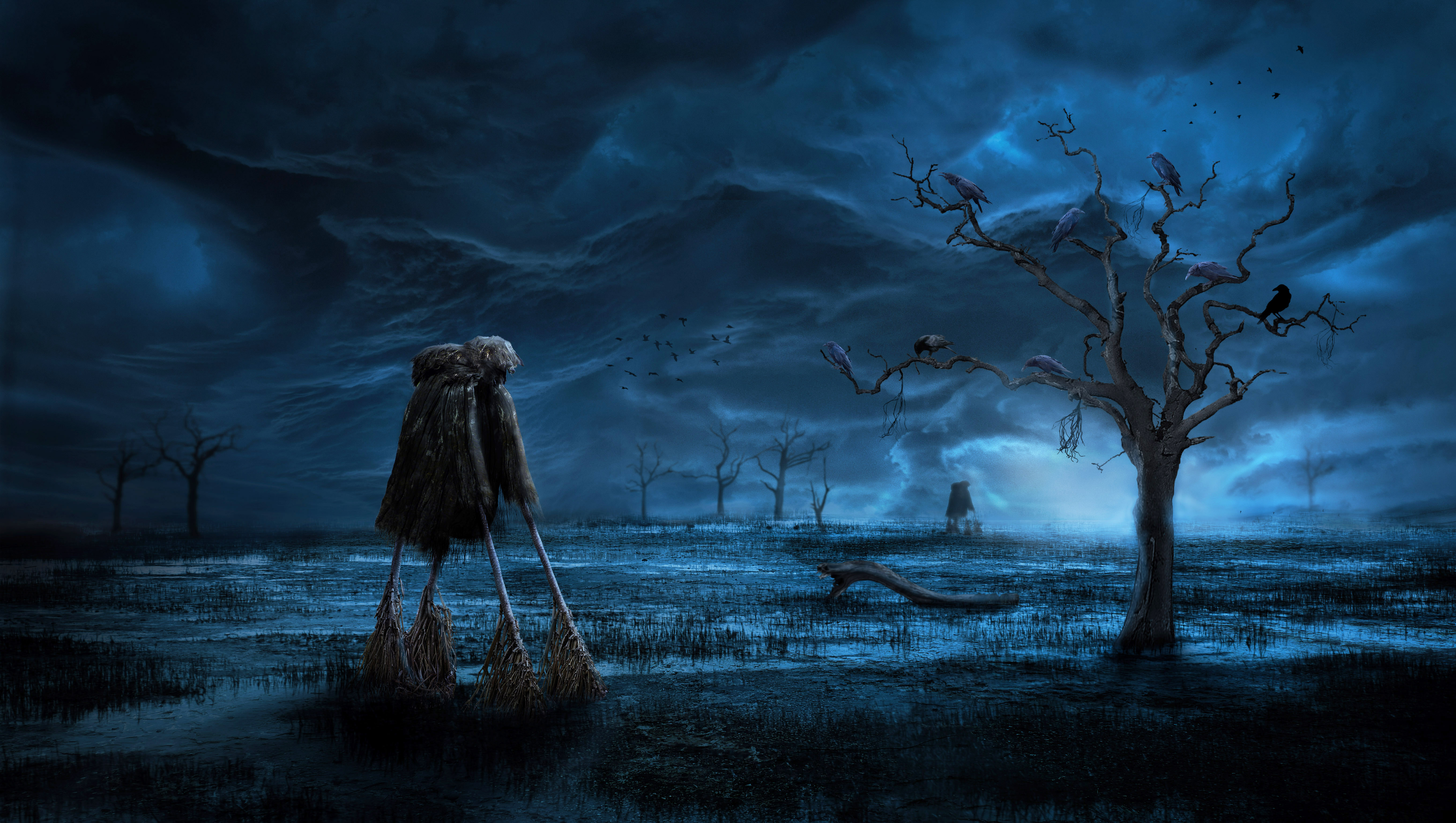 Обои ночь, болото, дерево, вороньё