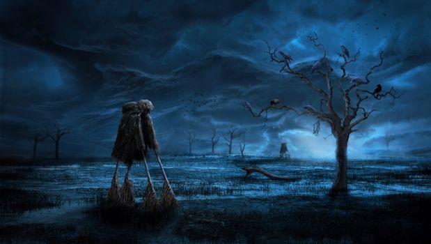 Бесплатные фото ночь,болото,дерево,вороньё,пугало,art