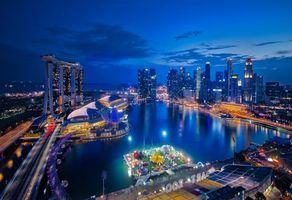 Обои Singapore, Сингапур, город, почь, огни, иллюминация, Юго-восточная Азия