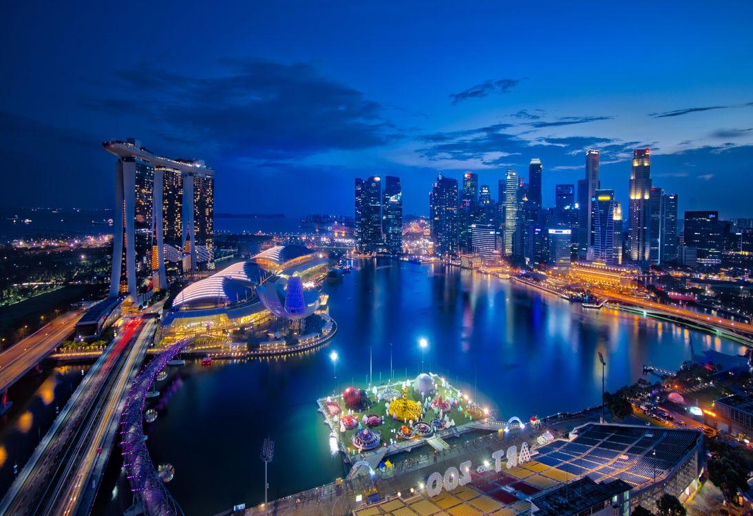 Фото бесплатно Singapore, Сингапур, город, почь, огни, иллюминация, Юго-восточная Азия, город