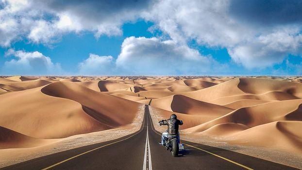 Фото бесплатно дорога, пески, мотоциклист