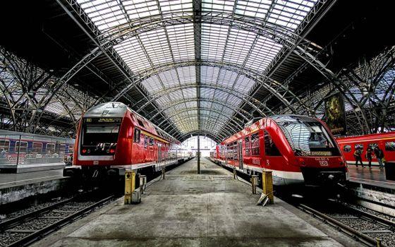 Photo free train, station, wagons
