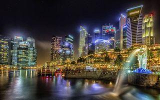 Бесплатные фото ночь,река,статуя,фонтан,небоскребы,здания,огни
