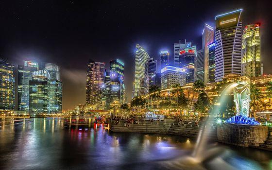 Фото бесплатно ночь, река, статуя