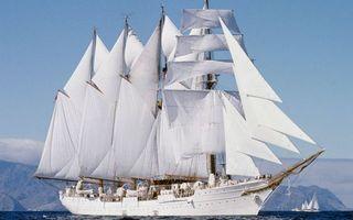Заставки корабль, белый, мачты