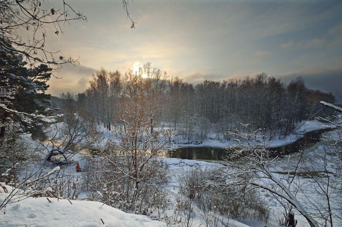 Фото бесплатно закат, зима, речка, Клязьма, Россия, лес, деревья, пейзаж, пейзажи