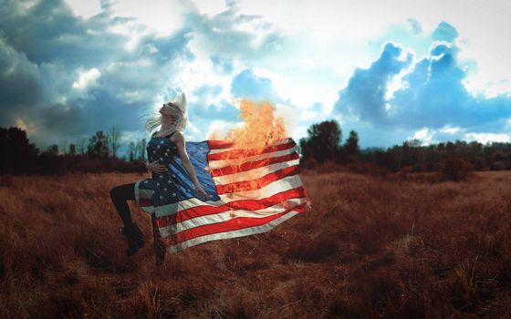 Photo free girl, burning US flag, flag of America