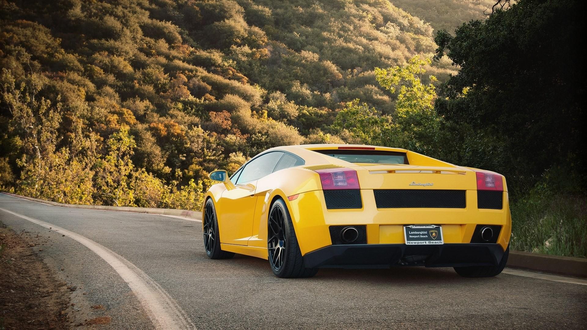 Lamborghini, желтая, загородная дорога