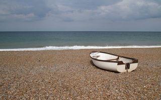 Фото бесплатно берег, песок, лодка, море, горизонт, небо
