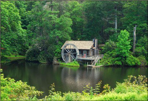 Фото бесплатно North Carolina, Grist Mill, Jewel Lake, Jackson County, река, лес, деревья, водяная мельница, пейзаж