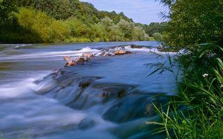 Бесплатные фото река,течение,камни,порог,трава,деревья