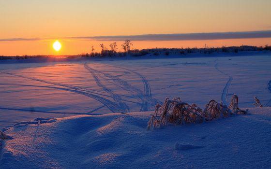 Заставки снег,солнце,закат,путь
