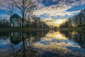 Бесплатные фото Большой сад, Херрхаузен, Ганновер, Германия, закат, водоём, деревья