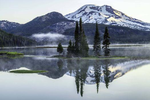 Фото бесплатно Sparks Lake, Deschutes County, Oregon, озеро, горы, пейзаж