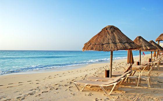 Фото бесплатно зонтики, тропики, море