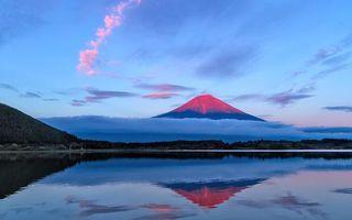 Заставки гора,закат,солнца,вечер,небо,озеро