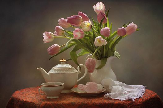 Photo free tulips, bouquet, tea