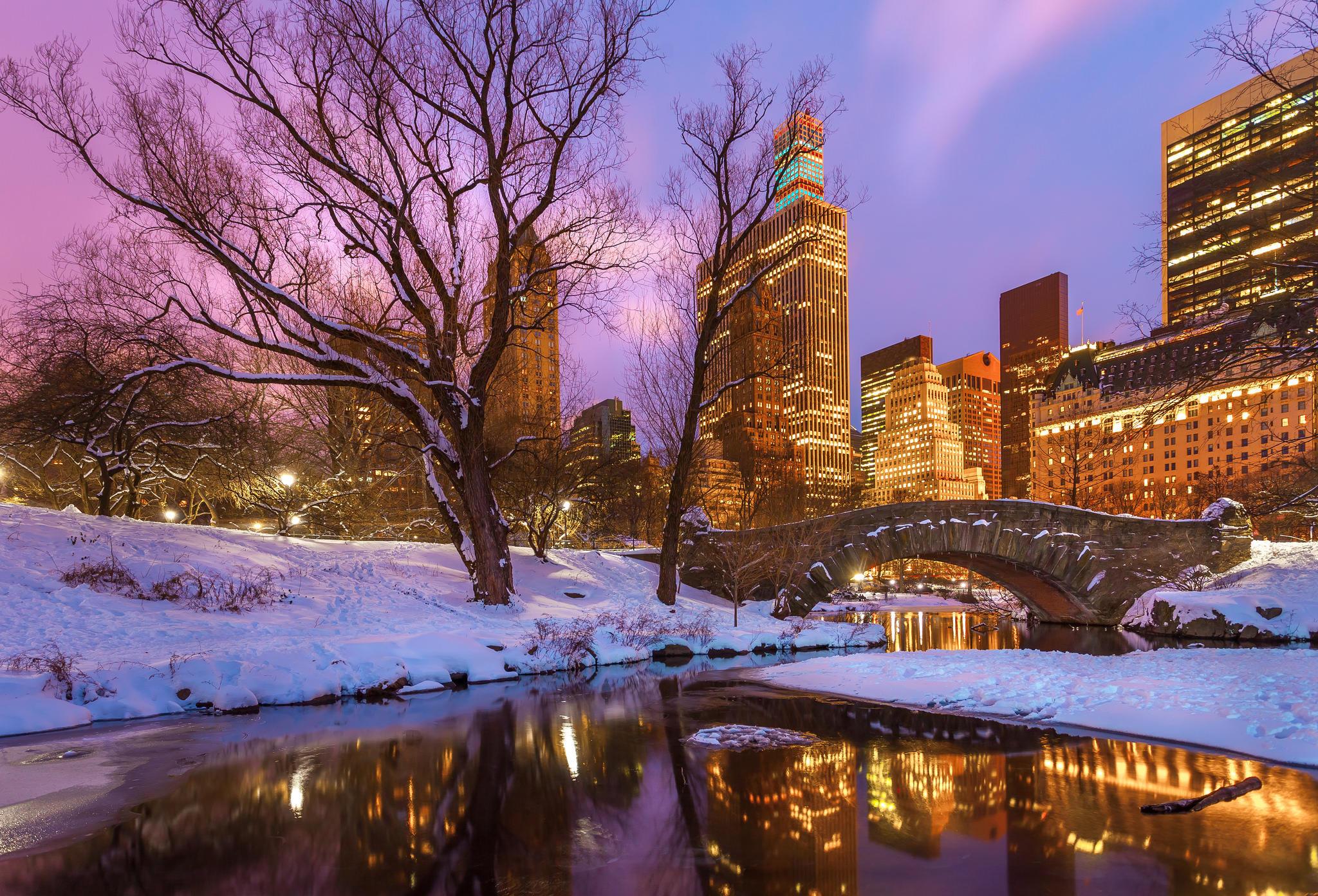 Обои Центральный парк, Нью-Йорк, вечер