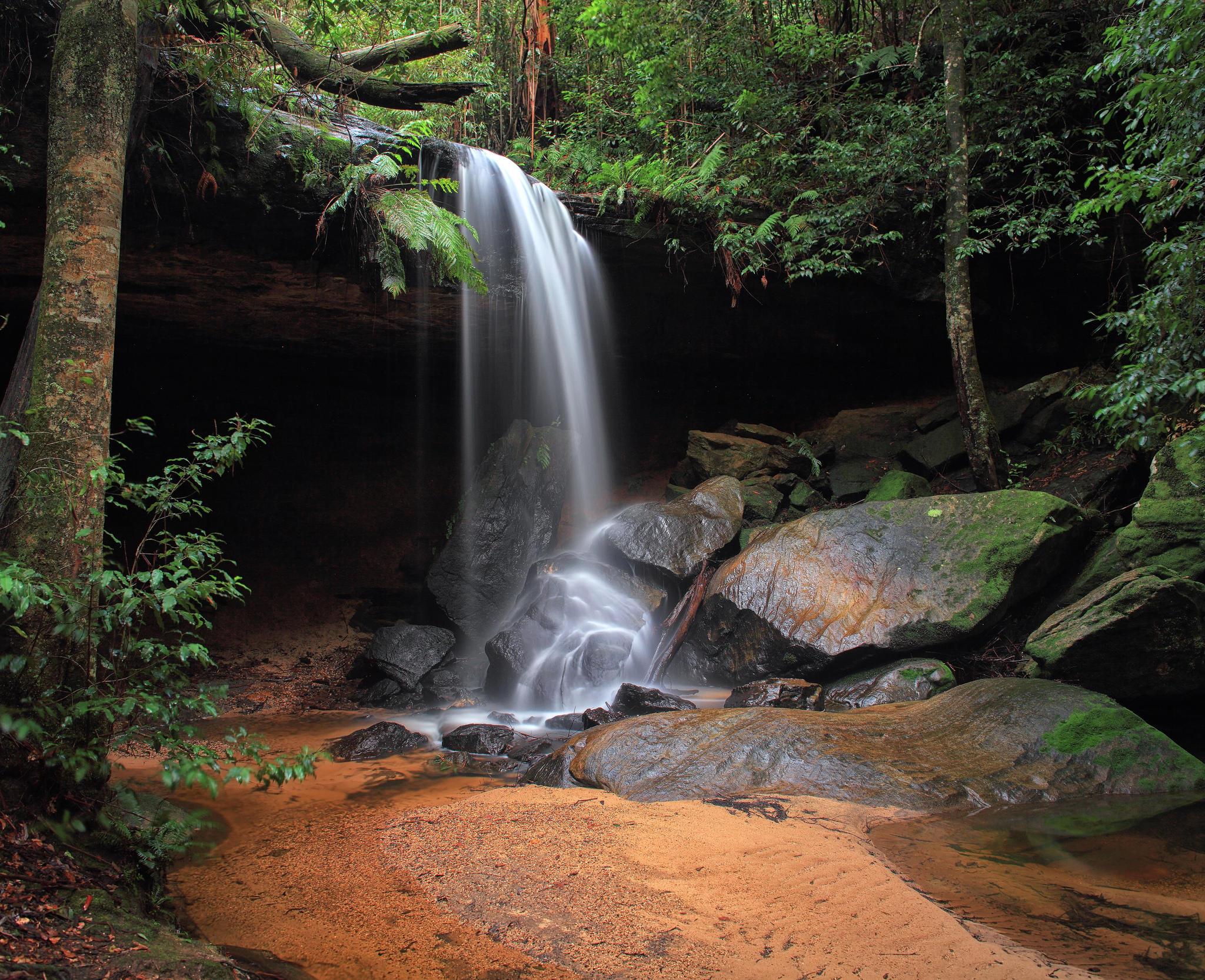 Обои водопад, лес, деревья, скалы