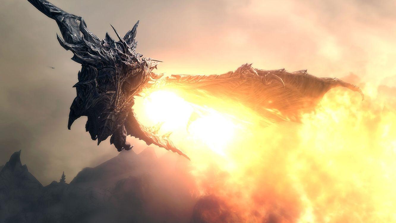Фото бесплатно алдуин, дракон, the elder scrolls v:skyrim, разное